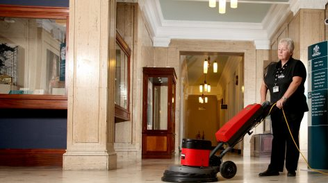 Norse cleaning division, lady cleaning Barnsley Town Hall