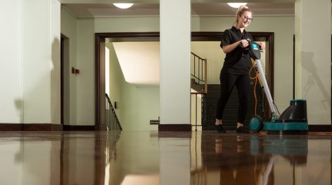 Norse Cleaning staff cleaning floors in office buildings