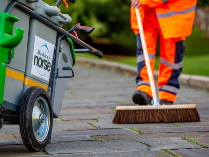 Medway Norse carrying out street cleansing in Kent